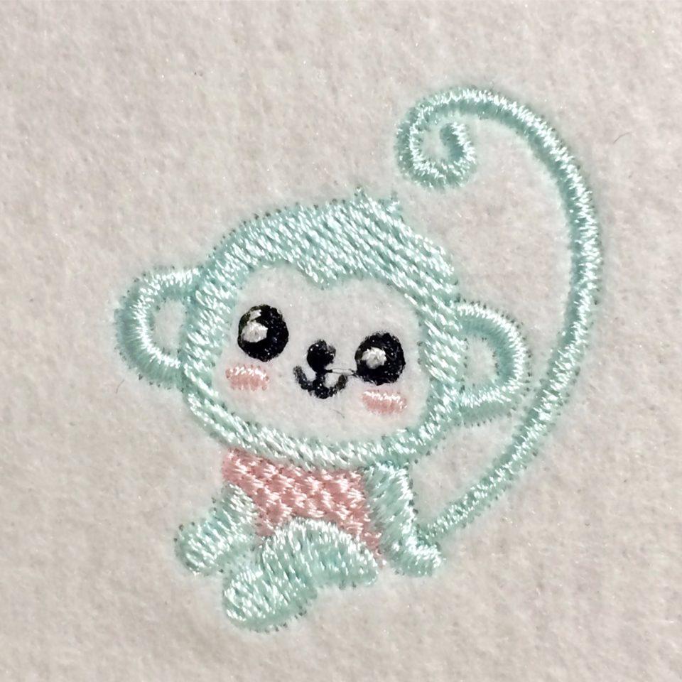 ニコニコ笑顔のおさる刺繍データ