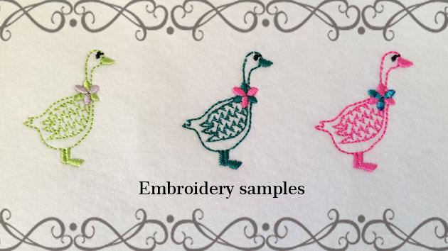 あひるとお花のかざりの刺繍色見本
