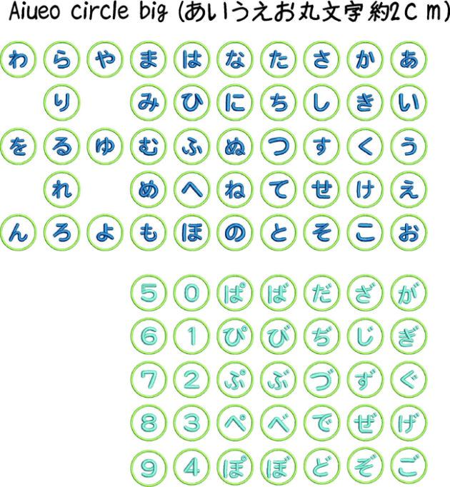 あいうえお刺繍の丸の中のひらがなと数字刺繍データの一覧