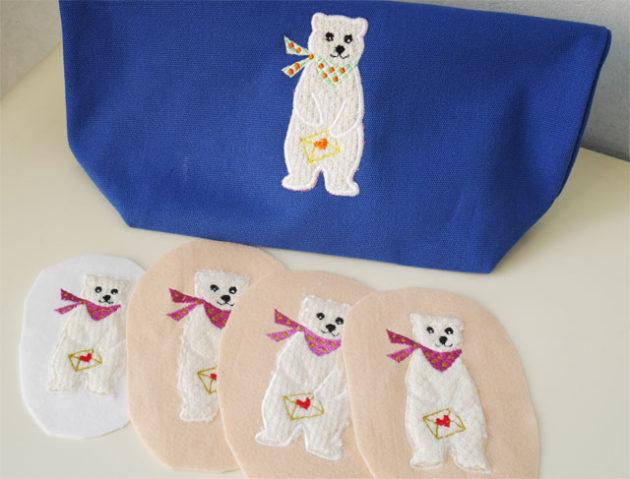 クマのアップリケ刺繍が並んでいる