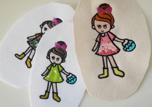 女の子のアップリケ刺繍の試し縫い