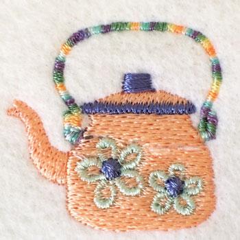 お花柄のヤカン刺繍