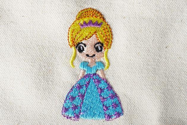 プリンセス刺繍の試し縫い