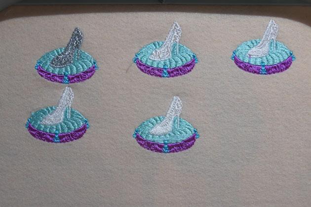シンデレラの「ガラスの靴」刺繍データ試し縫い