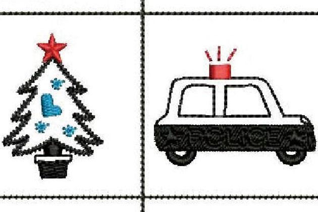スタンプ機能を使ったパトカーの刺繍