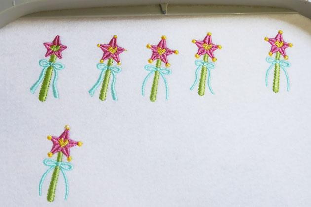 魔法のステッキ刺繍の試し縫い