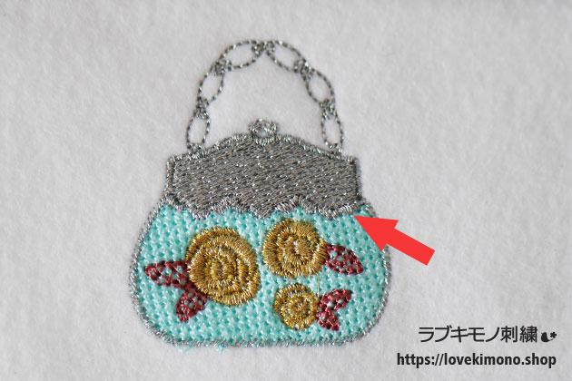 シンデレラのハンドバックの刺繍