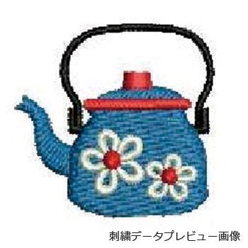 お花柄のヤカン刺繍プレビュー