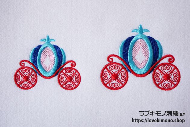 かわいいカボチャの馬車の刺繍が2個並ぶ