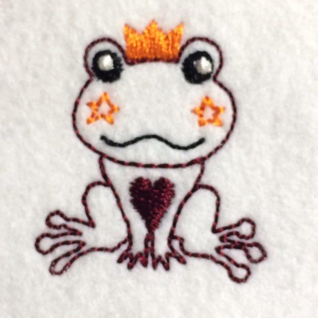 カエルの刺繍サンプル