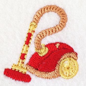 働き者の掃除機の刺繍