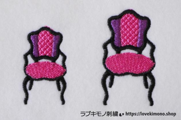 背もたれがダイヤ柄の椅子の刺繍