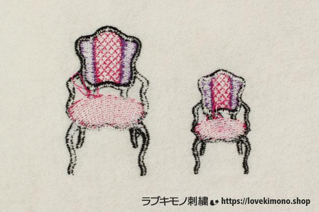アンティークいすの刺しゅうの大小の2サイズ、刺繍裏側の糸始末前