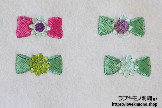 リボン刺繍の試し縫い