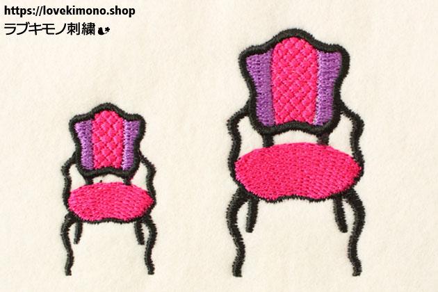 ダイヤ柄のアンティークいすの刺しゅう