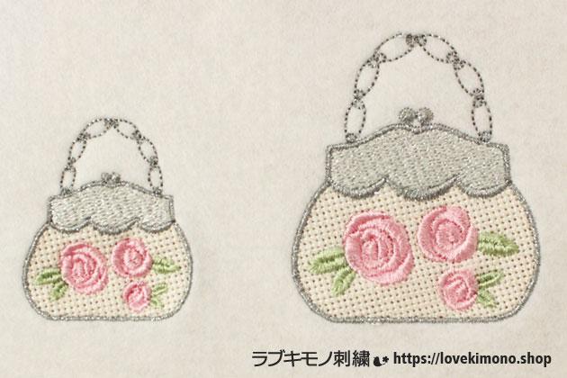 薔薇の模様、パーティーバックの刺繍、大小が並ぶ