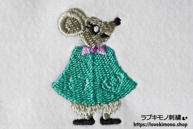 ねずみ色の毛のネズミの刺繍