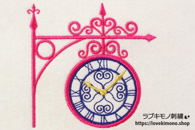 洋風のガーデン時計ししゅう