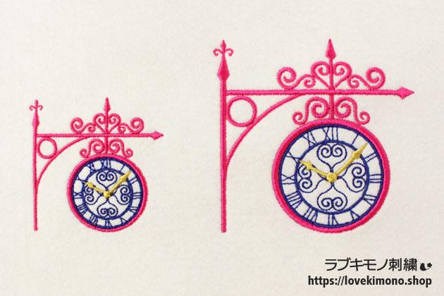 置き時計の刺繍、大小サイズが並ぶ