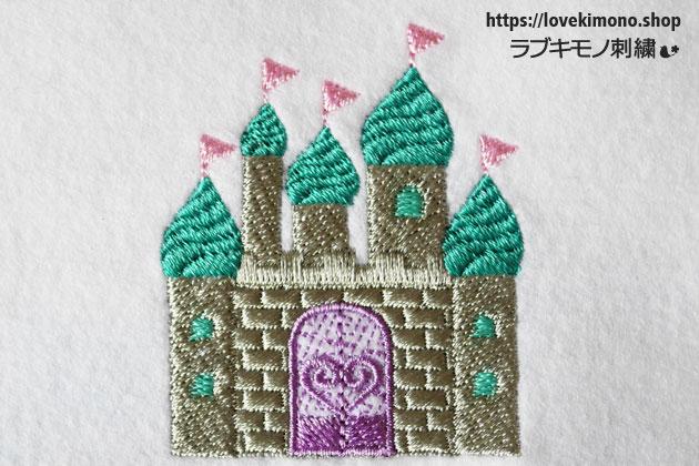 窓、ゲート、旗、お城の刺繍