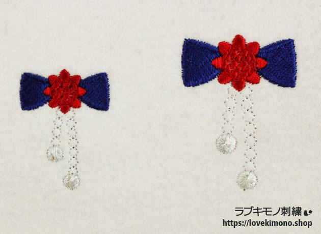 お花のリボンの髪飾りのかわいい刺繍