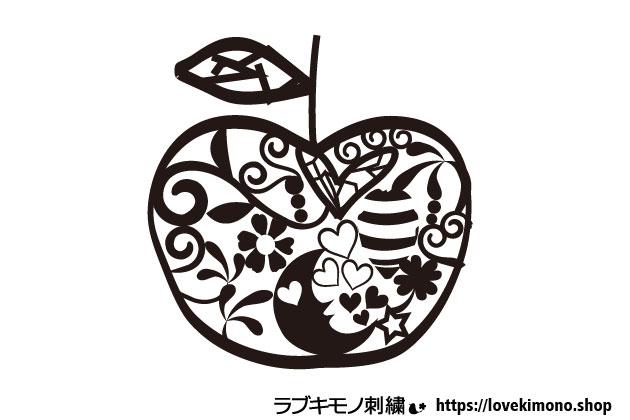 りんごの刺繍データ