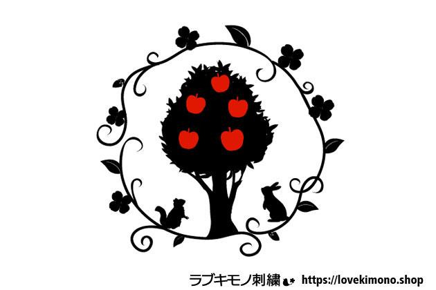 りんご、りす、うさぎ、白雪姫の刺繍図案