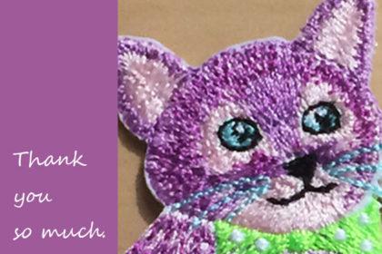 サンキューの猫ちゃん刺繍