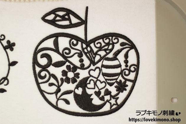 ラブ着物刺繍、白雪姫のりんごの刺繍試し縫い