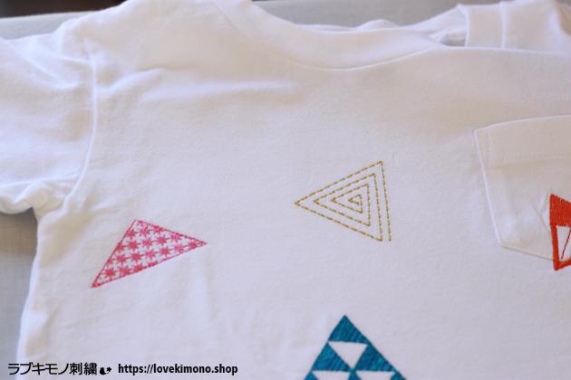 UNIQLOシャツへ三角の刺繍