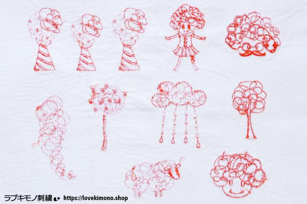 刺繍データダウンロードの刺繍サンプル裏側、ラブ着物刺繍