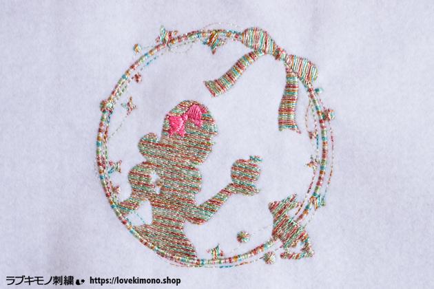 白雪姫の刺繍データ、マルチの糸で試し縫い