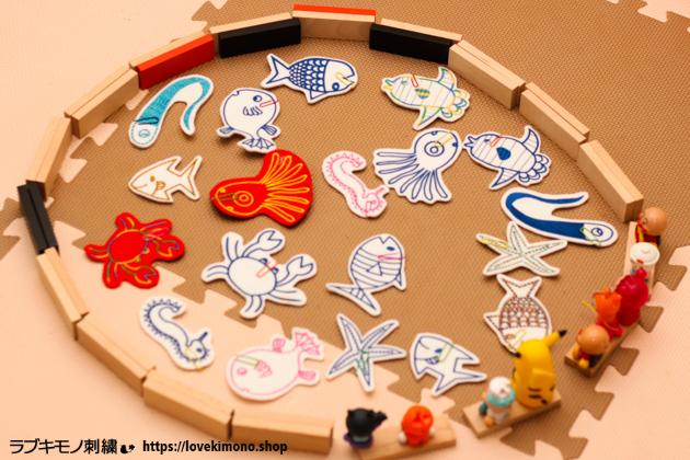 刺繍のお魚釣りゲームを手作り