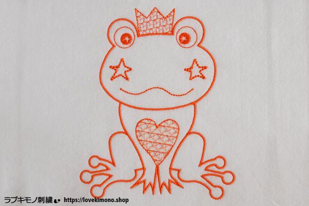 カエルの刺繍