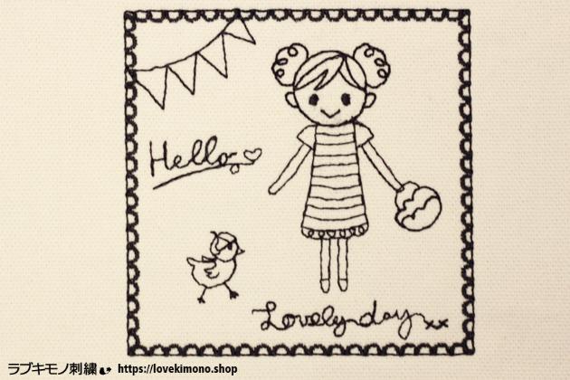 かわいい線画の女の子とアヒル、白黒の刺繍