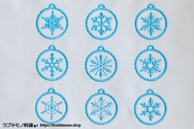 雪の結晶の刺繍、クリスマスオーナメント