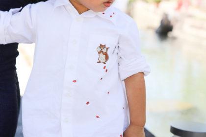 ミシン刺繍の置き縫いを使って、ドングリをシャツ一面に刺繍する方法